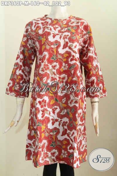 Toko Online Produk Batik Wanita, Tren 2017 Dress Tanpa Kerah Bahan Katun Halus Kwalitas Istimewa
