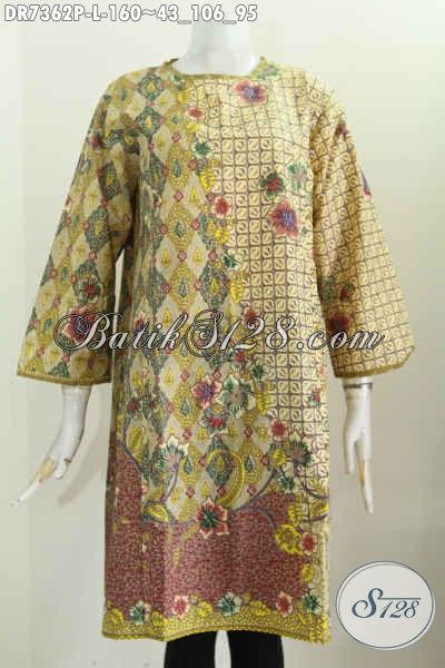 Baju Batik Wanita Motif Kombinasi, Busana Batik Dress Keren Dan Elegan Tanpa Krah Pakai Relseting Belakang 160K [DR7362P-L]