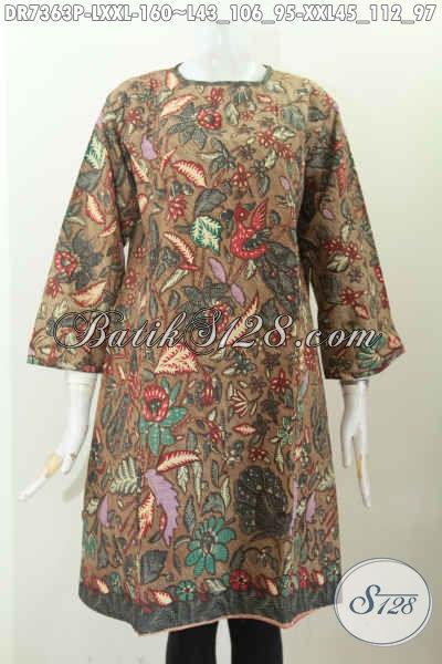 Jual Batik Dress Wanita Terkini, Hadir Dengan Desain Tanpa Krah Dan Pakai Resleting Belakang Hanya 160 Ribu [DR7363P-L]