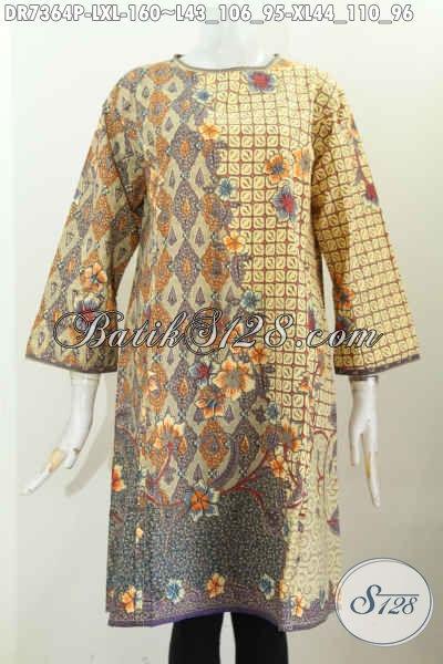 Baju Batik Dress Solo Jawa Tengah, Busana Batik Elegan Istimewa Proses Printing Kwalitas Bagus Untuk Kerja Dan Jalan-Jalan, Size L – XL