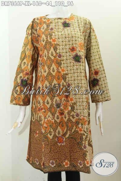 Busana Kerja Wanita Dewasa Karir Aktif, Produk Baju Dress Batik Modern Tanpa Krah Pakai Resleting Belakang, Tampil Gaya Dan Cantik [DR7366P-XL]