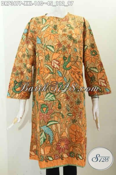 Toko Produk Batik Online, Sedia Dress Batik Solo Halus Proses Printing Model Tanpa Krah Di Lengkapi Resleting Belakang Hanya 100 Ribuan [DR7367P-XXL]