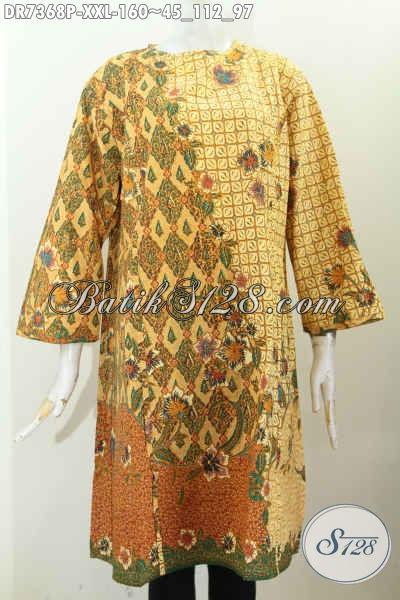 Pakaian Batik Elegan Istimewa, Busana Batik Jawa Terbaru Kwalitas Bagus Proses Printing Desain Tanpa Krah Pakaian Resleting Belakang, Size XXL