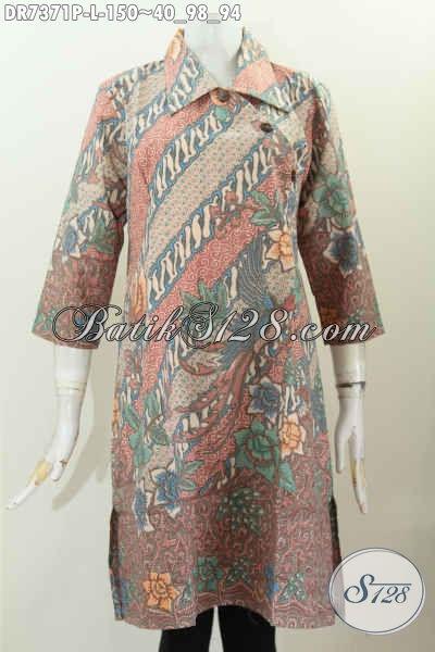 Dress Batik Kerah Lancip Kancing Miring, Busana Batik Jawa Istimewa Untuk Tampil Beda Dan Gaya, Size L