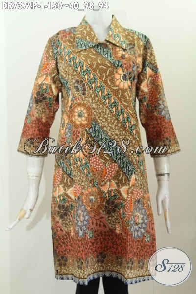 Batik Dress Keren Modis Dengan Kancing Miring Dan Kerah Lancip Hanya 150 Ribu, Size L