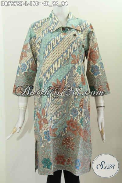 Koleksi Terkini Toko Batik Online, Dress Batik Kancing Miring Motif Keren Proses Printing, Pakaian Batik Kerah Lancip Harga 150K [DR7373P-L]