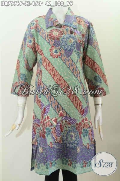 Dress Batik Elegan Buatan Solo Asli, Baju Batik Modis Kerah Lancip Dengan Kancing Miring, Tampil Mempesona [DR7376P-XL]