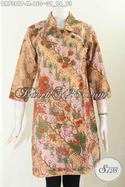 Busana Batik Kerja Wanita Kantoran, Dress Kerah Lancip Dengan Kancing Miring, Bikin Penampilan Lebih Istimewa [DR7381P-M]