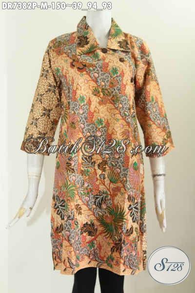Jual Baju Batik Kerja Wanita Online Dengan Model Kerah Lancip Dan Kancing Miring, Berbahan Halus Prose Printing [DR7382P-M]