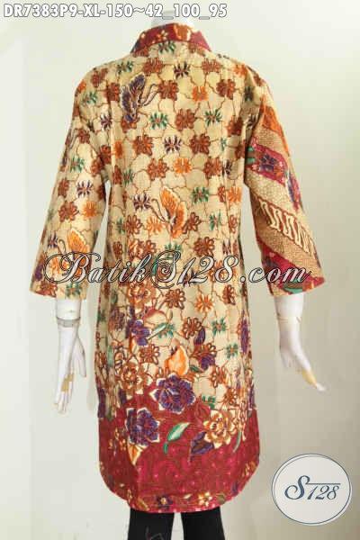 Baju Batik Kerja Nan Elegan, Busana Batik Dress Kerah Lancip Kancing Miring Kwalitas Istimewa Hanya 150K [DR7383P-XL]