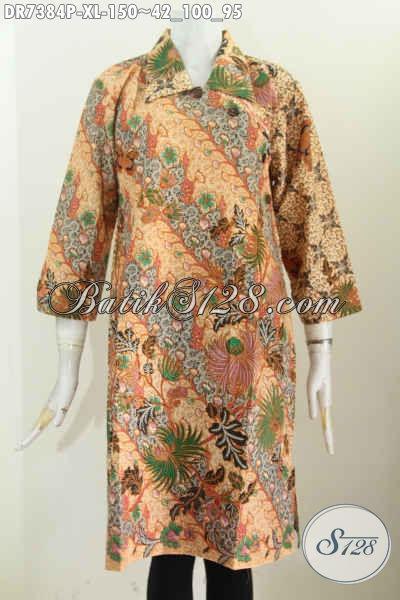 Pakaian Batik Wanita Dewasa Karir Aktif, Dress Batik Kancing Miring Kerah Lancip Motif Bunga Printing Harga 150K, Size XL
