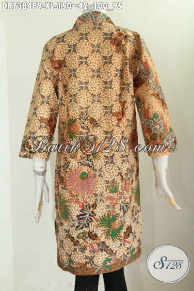 Pakaian Batik Wanita Dewasa Karir Aktif, Busana Batik Elegan Berkelas Dengan Kerah Lancip Dan Kancing Miring, Tampil Terlihat Anggun [DR7384P-XL]
