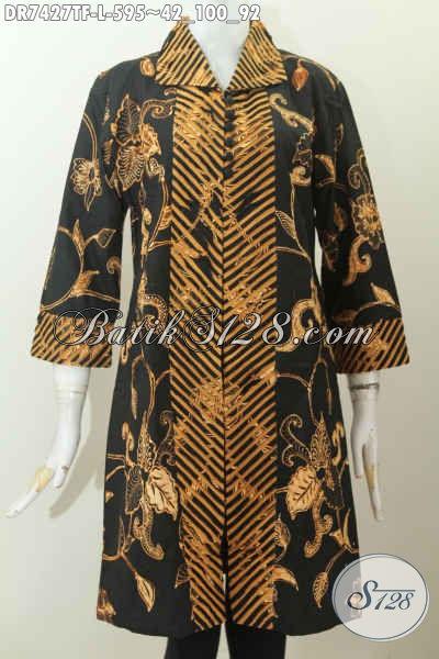 Batik Dress Istimewa, Busana Batik Mewah Elegan Klasik Untuk Kerja Dan Acara Resmi Tampil Berkelas, Size L