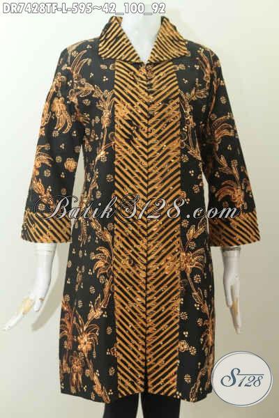 Jual Online Baju Batik Istimewa, Dress Batik Premium Model Terkini Daleman Full Tricot, Size L