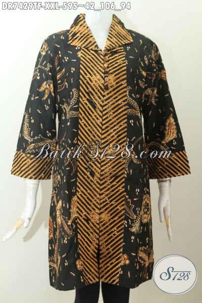 Jual Dress Batik Premium Wanita Gemuk, Busana Batik Solo Mewah Full Furing Bahan Adem, Tampil Modis Dan Mewah [DR7429TF-XXL]