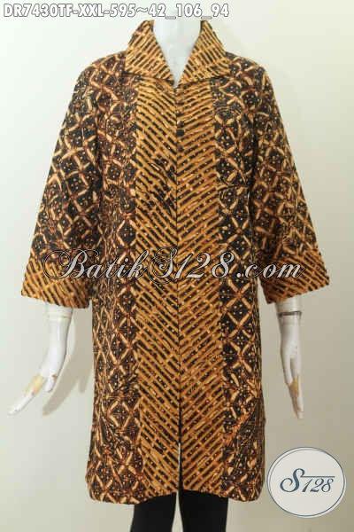 Desain Baju Batik Kerja Mewah Terkini, Dress Batik Model Seset Kerah Full Furing Motif Bagus Tulis Asli Harga 595K [DR7430TF-XXL]