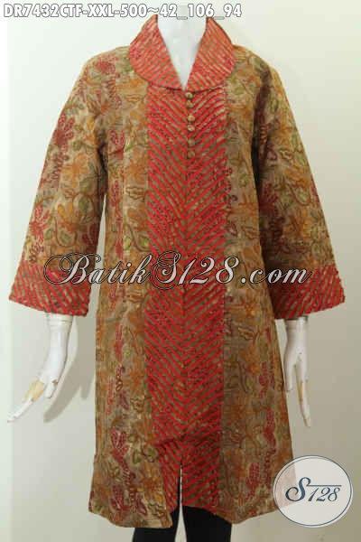 Baju Dress Batik Cap Tulis, Busana Batik Modern Keren Nan Mewah Daleman Full Furing Harga 500K, Size XXL