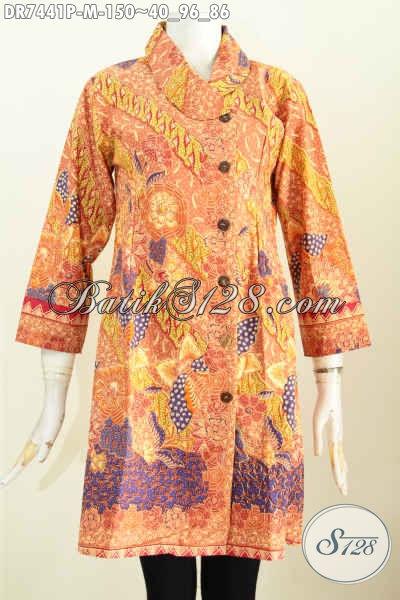 Batik Dress Kerah Miring Keren Motif Trendy Proses Printing, Cocok Untuk Kerja Kantoran [DR7441P-M]