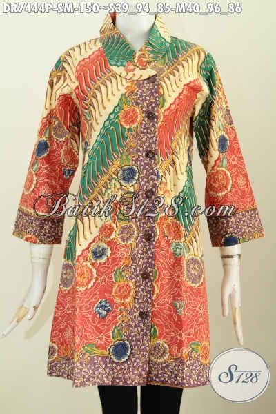 Dress BatikKerja Berkelas Desain Kerah Miring, Pakaian Batik Jawa Etnik Motif Bunga Proses Printing Harga 150K, Size S – M