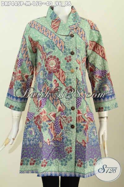 Dres Batik Wanita Muda, Hadir Dengan Model Kerah Miring Motif Mewah Bahan Halus Harga 150K, Proses Printing [DR7445P-M]