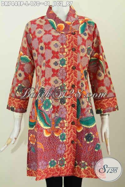 Baju Dress Merah, Pakaian Batik Solo Halus Proses Printing Motif Bunga Kwalitas Istimewa Model Kerah Miring Tampil Makin Cantik, Size L