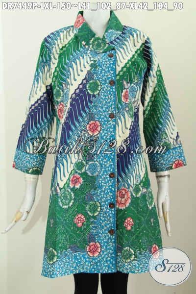 Dress Batik Bagus Warna Hijau Motif Bunga, Pakaian Batik Kerja Dan Acara Resmi Desain Mewah Harga Murah, Size L – XL