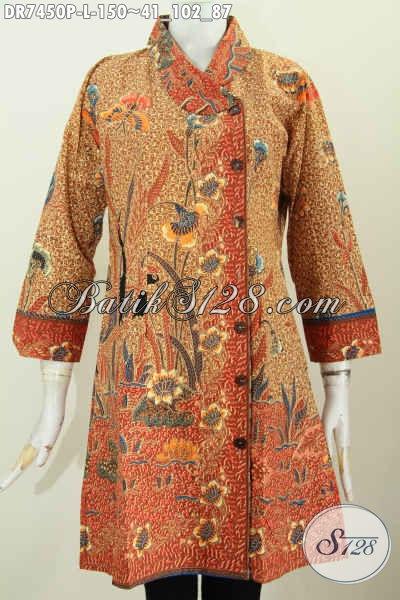 Dress Batik Wanita ELegan, Pakaian Batik Solo Jawa Tengah, Baju Batik Modis Halus Motif Bagus Proses Printing Hanya 150 Ribu, Size L