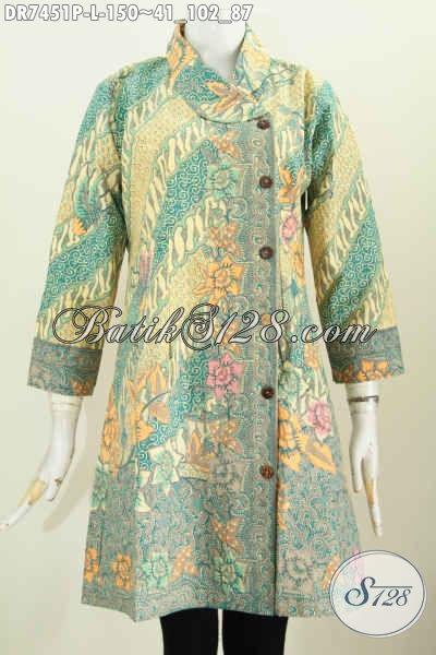 Baju Batik Kerja Paling Modis, Busana Batik Jawa Etnik Kerah Miring Motif Mewah Dengan Harga Murah, Proses Printing Size L [DR7451P-L]