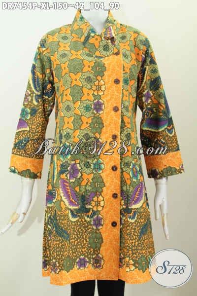 Jual Baju Batik Wanita Modern Murah Kwalitas Mewah, Dress Batik Kerah Miring Buatan Solo Motif Bagus Trend Masa Kini [DR7454P-XL]