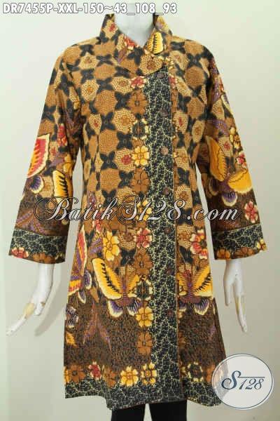 Baju Dress Elegan Dan Istimewa, Busana Batik Wanita Gemuk Motif Bagus Proses Printing Desain Kerah Miring, Tampil Cantik Dan Anggun [DR7455P-XXL]