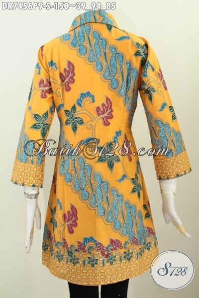 Baju Dress Kerah Miring Motif Bagus Banget, Pakaian Batik Solo Istimewa Untuk Kerja Dan Acara Resmi Harga 150K, Size S