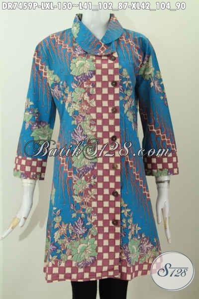 Dress Batik Wanita Kombinasi, Pakaian Batik Warna Biru Dengan Motif Klasik Printing Kwalitas Istimewa, Di Jual Online 150 Ribu, Size L
