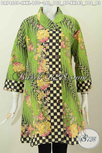 Olshop Pakaian Batik Online Paling Up To Date, Sedia Dress Kerah Miring Berkelas Hanya 150L, Bahan Halus Motif Klasik Tampil Menawan [DR7460P-L]