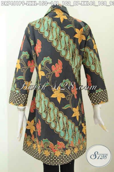 Baju Batik Untuk Kerja, Dress Batik Solo Modis, Busana Batik Kwalitas Istimewa Untuk Penampilan Lebih Sempurna Harga 150 Ribu Saja [DR7461P-L]