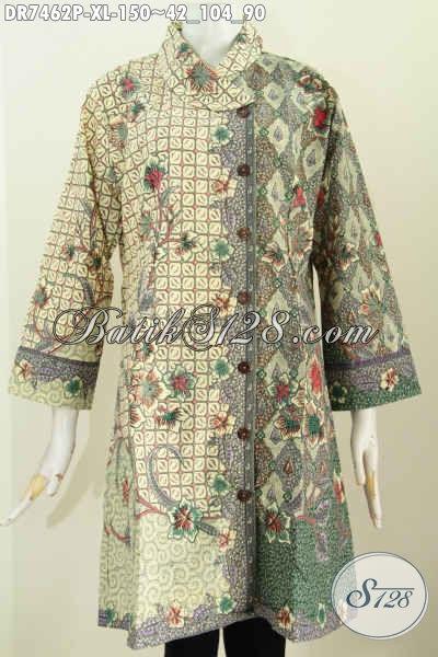 Baju Batik Istimewa, Dress Batik Halus Motif Kombinasi Proses Printing Hanya 100 Ribuan Desain Kerah Miring Nan Modis [DR7462P-XL]