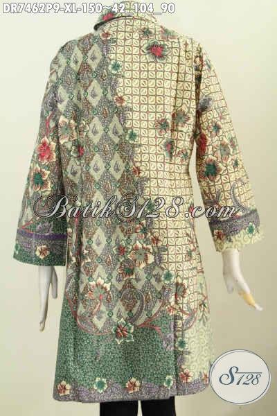 Busana Batik Kerah Miring Wanita Terbaru, Dress Batik Modern Klasik Proses Printing Size XL Harga 150K