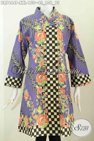 Dress Batik Mewah Harga Murah, Pakaian Batik Wanita Gemuk Warna Ungu Proses Printing Motif Elegan, Tampil Keren Dan Elegan, Size XXL