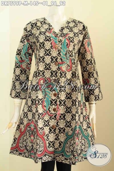 Dress Batik Elegan Mewah Model Kerah V, Baju Batik Berkelas Untuk Wanita Tampil Mempesona, Size M