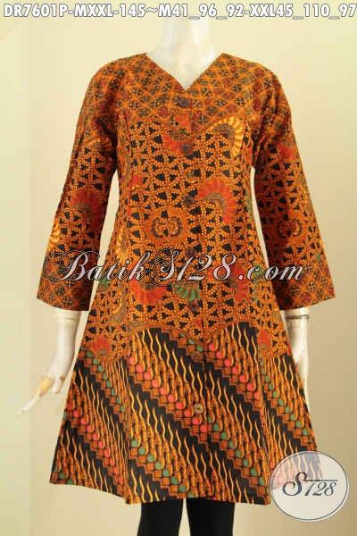 Dress Batik Klasik Kombinasi, Pakaian Batik Jawa Tengah Proses Printing Desain Kerah V, Tampil Anggun Dan Gaya, Size M