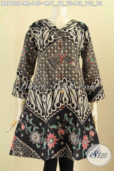 Baju Batik Wanita Kantor Elegan, Dress Kerah V Motif Klasik Printing Bahan Adem Nyaman Dan Modis Di Pakai Kerja [DR7602P-M]