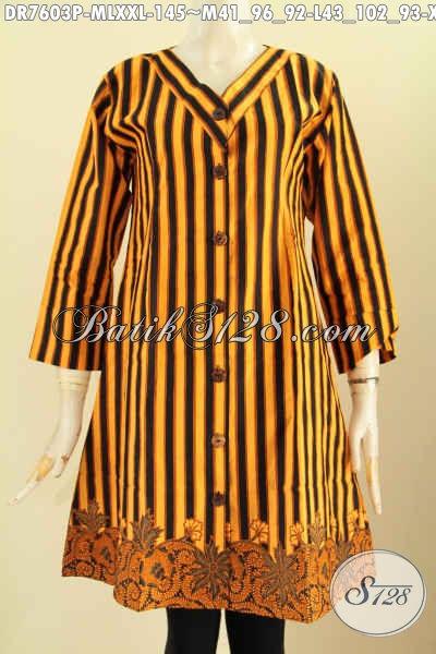 Batik Dress Elegan Mewah Halus Proses Printing, Baju Batik Kerah V Buatan Solo, Cocok Untuk Seragam Kerja, Size M – XXL