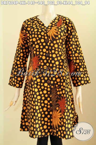 Baju Batik Dress Kerah V Istimewa, Busana Batik ELegan Motif Klasik Bahan Halus Proses Printing, Cocok Buat Ke Kantor, Size L – XL