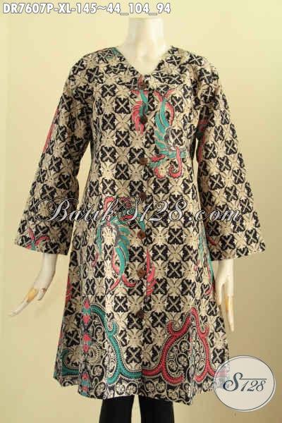 Jual Baju Batik Solo Terbaru, Produk Baju Batik Jawa Tengah Istimewa Kerah V Motif Klasik Printing Kwalitas Bagus Hanya 145K, Size XL