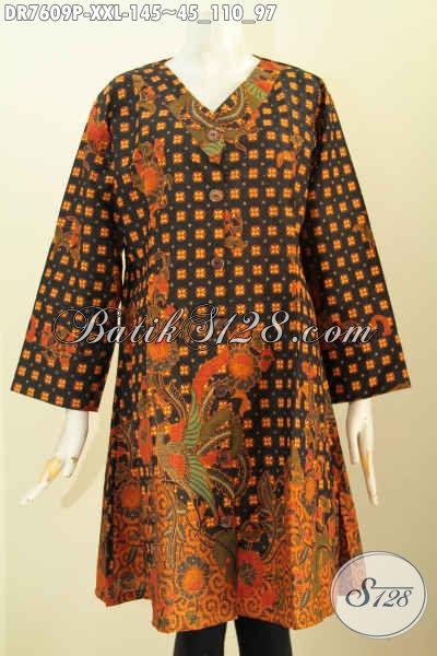 Batik Dress 3L, Baju Batik Kerja Wanita Gemuk Desain Kerah V Dengan Motif Klasik Menunjang Penampilan Lebih Elegan Dan Modis [DR7609P-XXL]