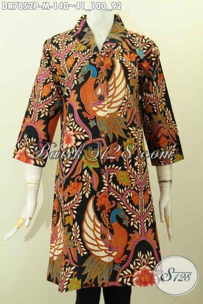 Batik Dress Wanita Kerah Langsung, Baju Kerja Atasan Wanita Modis Berkelas Proses Printing 140K [DR7852P-M]
