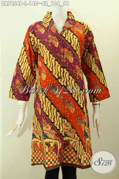 Baju Dress Batik Solo Klasik Elegan Proses Printing, Pakaian Batik Jawa Terkini Kerah Langsung Bahan Adem Harga 100 Ribuan [DR7854P-L]