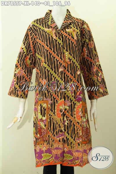 Dress Batik Krah Langsung Size XL, Busana Batik Wanita Masa Kini Untuk Tampil Anggun Dan Menawan Hanya 140K