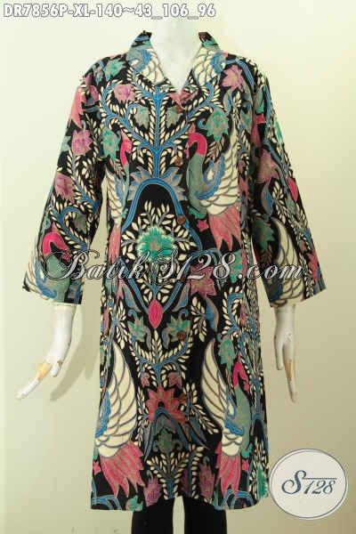 Batik Dress Wanita Terkini, Pakaian Batik Istimewa Model Krah Langsung Untuk Terlihat Cantik Dan Berkelas, Size XL