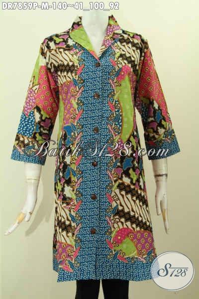 Dress Batik Kerah Langsung Wanita Muda Cocok Untuk Kerja Dan Acara Resmi, Pakaian Batik Modis Halus Proses Printing Motif Mewah Harga 140K [DR7859P-M]