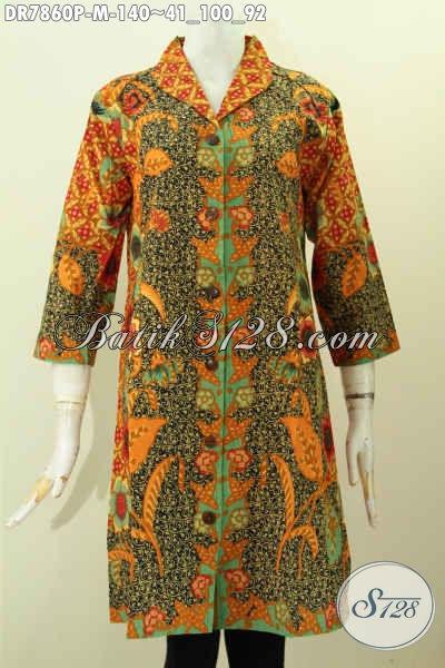 Batik Dress Solo Terbaru, Hadir Dengan Model Kerah Langsung Motif Mewah Printing Bahan Halus, Cocok Untuk Seragam Kerja [DR7860P-M]